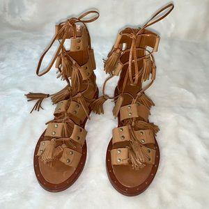Zara Tassel Lace up Gladiator Sandal